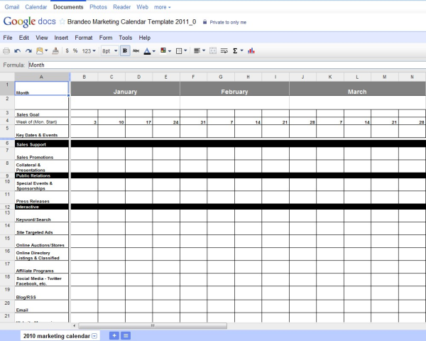 Free excel marketing calendar template for Campaign schedule template
